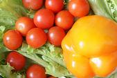 Vegetables on lettuce leaves — Stock Photo