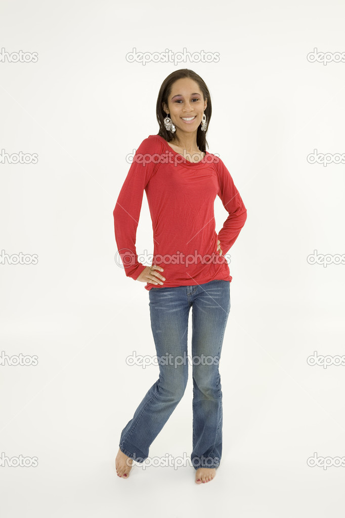 Portrait of beautiful young African American teenager — Stock Photo #10493605