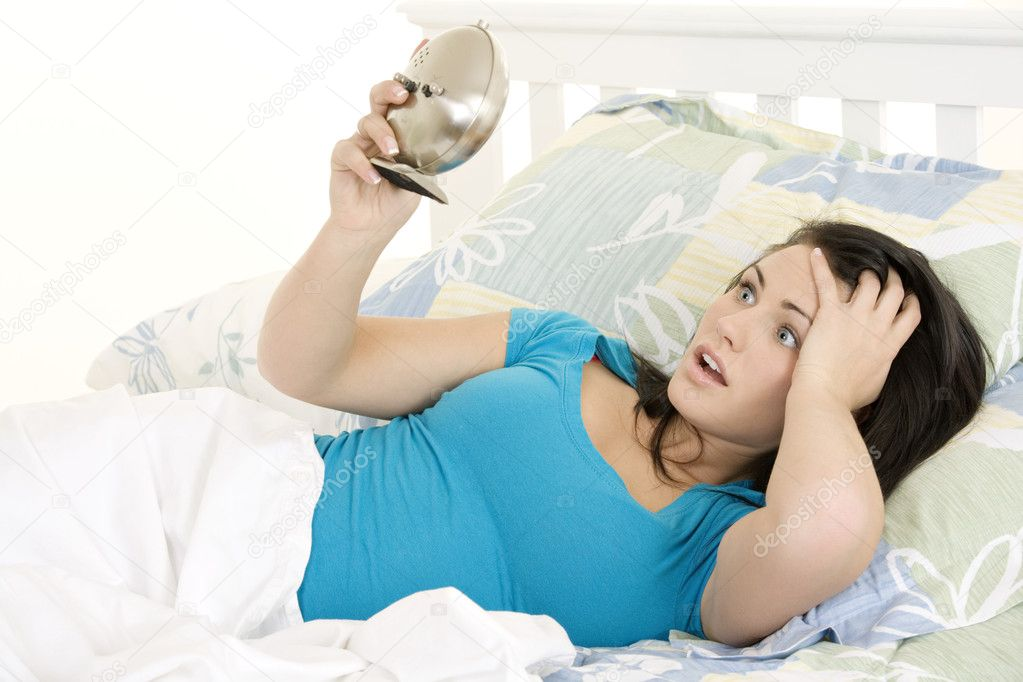 Beautiful woman oversleeping in the morning — Stock Photo #10500533