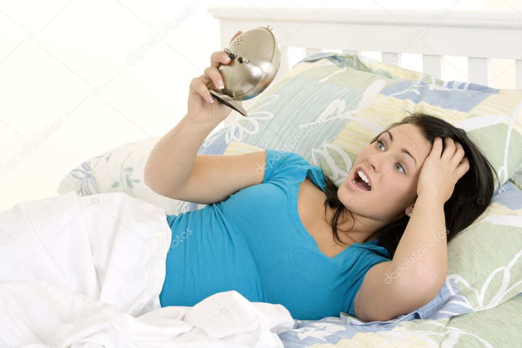 Beautiful woman oversleeping in the morning — Stock Photo #10501050
