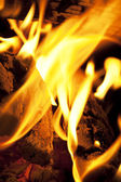 Logs in fire place — Stock Photo
