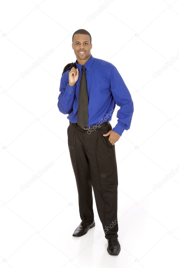 African American businessman standing on white background — Stock Photo #9714620