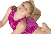 10 year old girl in gymnastics poses — Stock Photo