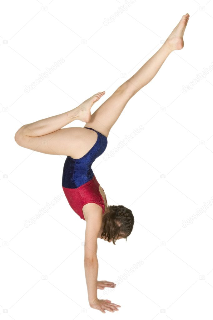 10 year old girl in gymnastics poses - Stock Image