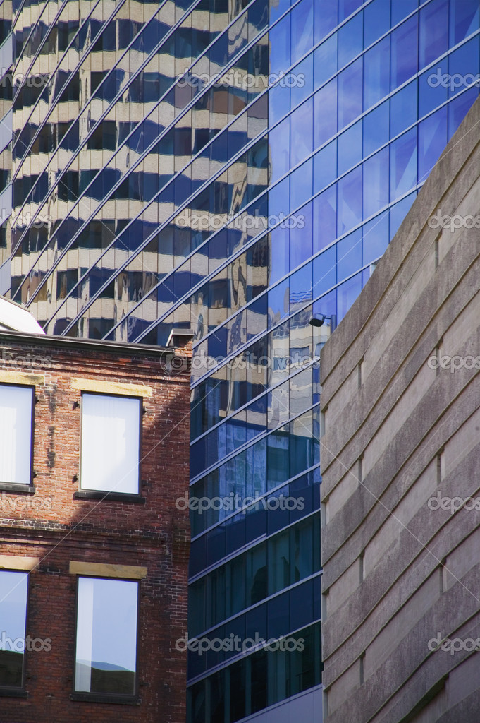 Builtings reflecting in windows of skyscrapers,  Boston, Massachusetts — Stock Photo #9885304