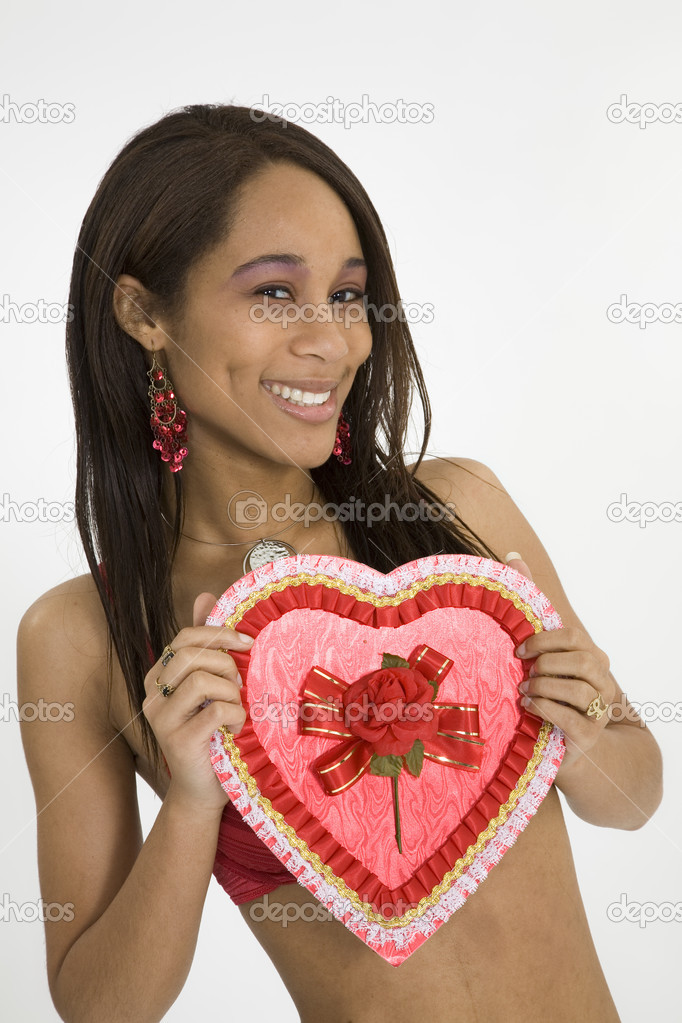 African American woman in early 20's doing glamour modeling for Valentines Day — Stock Photo #9915984