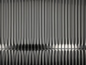 Shiny organ pipes in church front view — Stock Photo