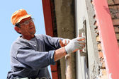 Mason Worker Plastering Wall — Stock Photo