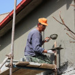 Stock Photo: Worker Plastering A Wall