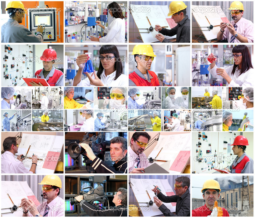 Collage of images with of different professions at work. — Stock Photo #9031078