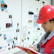 Engineer In Control Room — Stock Photo
