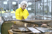 Female Worker At Pharmaceutical Factory — Stock Photo