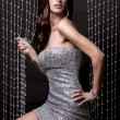 Stock Photo: Brunette and silver dress