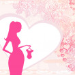 Beautiful pregnant woman on shopping for her new baby- abstract background — Stockvektor