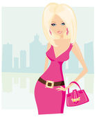 Cute sexy woman with shopping bag — Stock Vector