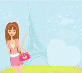 Paris güzel seyahat kız — Stok Vektör