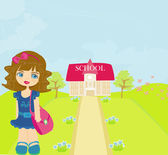 Girl going to school — Stock Vector