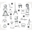 Paris fashion doodles set , vector illustration — Stock Vector