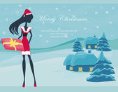 Happy New year card with Santa girl and winter landscape — Stock Vector