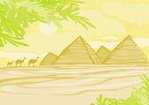 Old paper with pyramids giza — Stock Vector