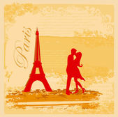 Romantic couple in Paris kissing near the Eiffel Tower Retro card — Stock Vector
