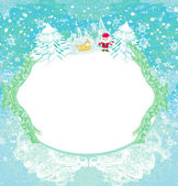 Happy New year card with Santa and winter landscape — Stock Vector