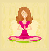 Yoga girl in lotus position — Stock Vector