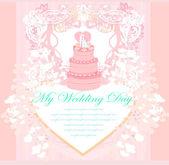 Diseño de la tarjeta de pastel de boda — Vector de stock