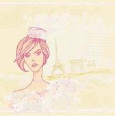 Beautiful women Shopping in Paris card — 图库矢量图片