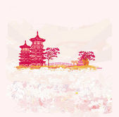 Old paper with Asian Landscape — Stock Vector