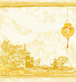 Old paper with Asian Landscape and Chinese Lanterns - vintage japanese style background — Vector de stock