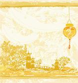Oud papier met aziatische landschap en chinese lantaarns - vintage japanse stijl achtergrond — Stockvector