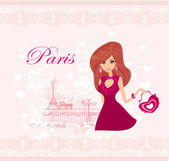 Beautiful travel girl in Paris — Stock Vector