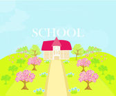 Illustration of country school house — Stock Vector