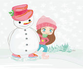 Girl and snowman on a skating rink — Stock Vector