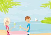 Heureux jeune couple sur une plage tropicale — Vecteur
