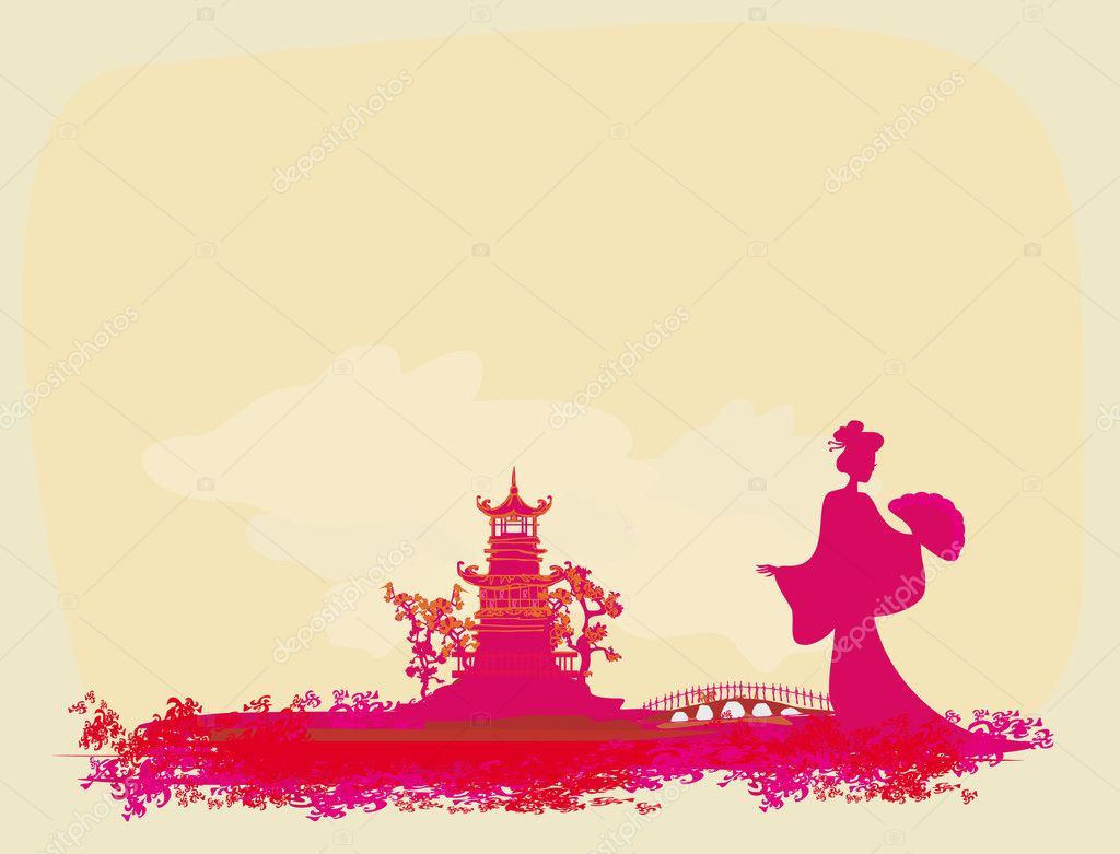 Abstract Asian Landscape with geisha silhouette — Stock Vector #10204954