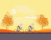 Cycling Grunge Poster Template , vector illustration — Stock Vector