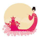 Old paper with geisha and Asian Landscape — Stock Vector