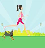 Jogging girl — Stock Vector