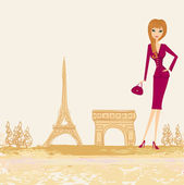 Beautiful women Shopping in Paris - vector card — Stok Vektör