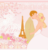 Wedding couple in Paris kissing near the Eiffel Tower — Stock Vector