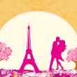 Stock Vector: Romantic couple in Paris kissing near the Eiffel Tower Retro card