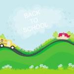 School bus heading to school with happy children — Stock Vector