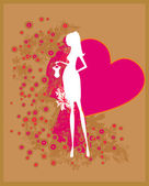 Beautiful pregnant woman on shopping for her new baby- abstract background — Stock Vector