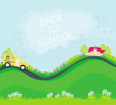 School bus heading to school with happy children — Stock Vector