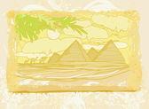 Oud papier met piramides giza — Stockvector