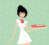 Beautiful woman enjoys pizza — Stock Vector