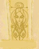 Halloween čarodějnice - doodle vektor grunge portrét — Stock vektor