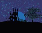 お化け屋敷で汚れたハロウィーンの背景 — ストックベクタ